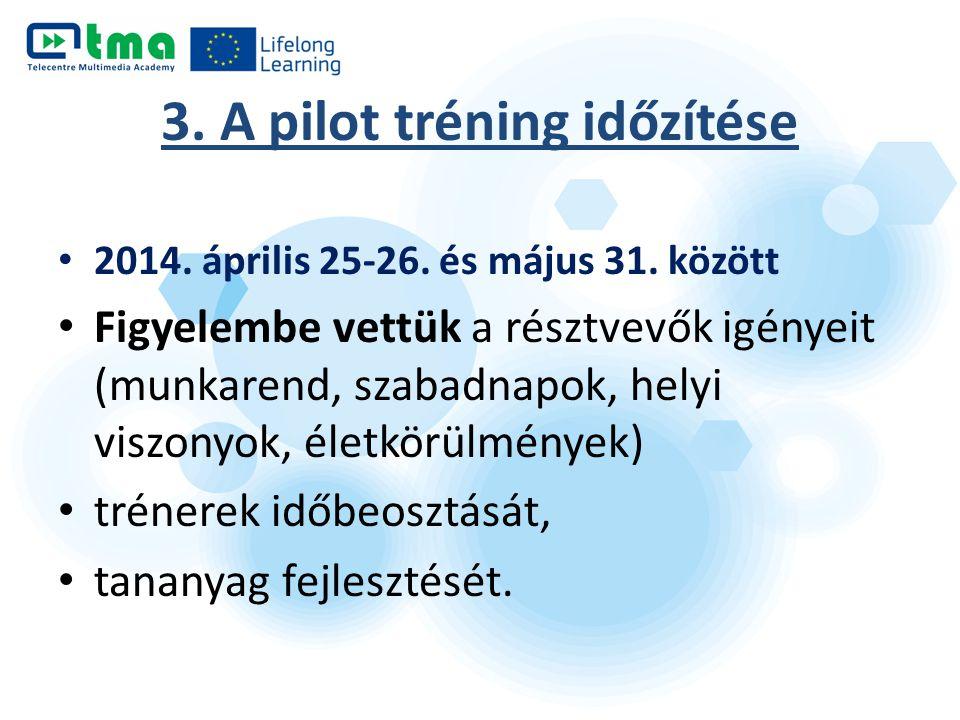3. A pilot tréning időzítése 2014. április 25-26. és május 31. között Figyelembe vettük a résztvevők igényeit (munkarend, szabadnapok, helyi viszonyok