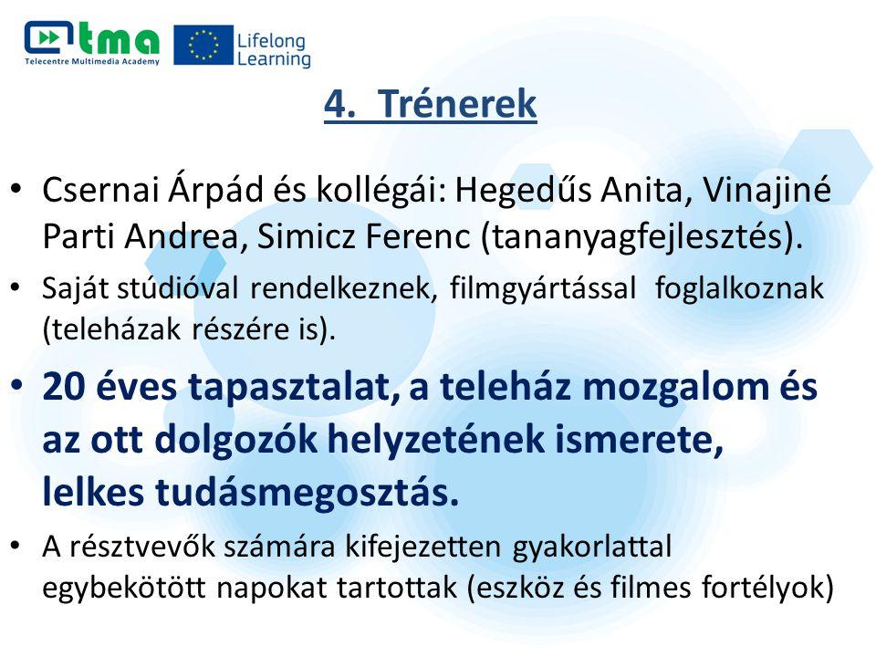 4. Trénerek Csernai Árpád és kollégái: Hegedűs Anita, Vinajiné Parti Andrea, Simicz Ferenc (tananyagfejlesztés). Saját stúdióval rendelkeznek, filmgyá