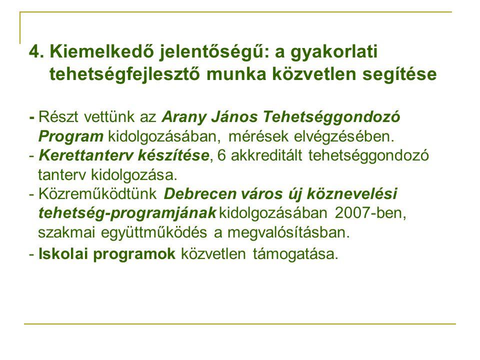 4. Kiemelkedő jelentőségű: a gyakorlati tehetségfejlesztő munka közvetlen segítése - Részt vettünk az Arany János Tehetséggondozó Program kidolgozásáb