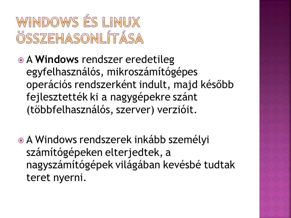  A Windows rendszer eredetileg egyfelhasználós, mikroszámítógépes operációs rendszerként indult, majd később fejlesztették ki a nagygépekre szánt (tö