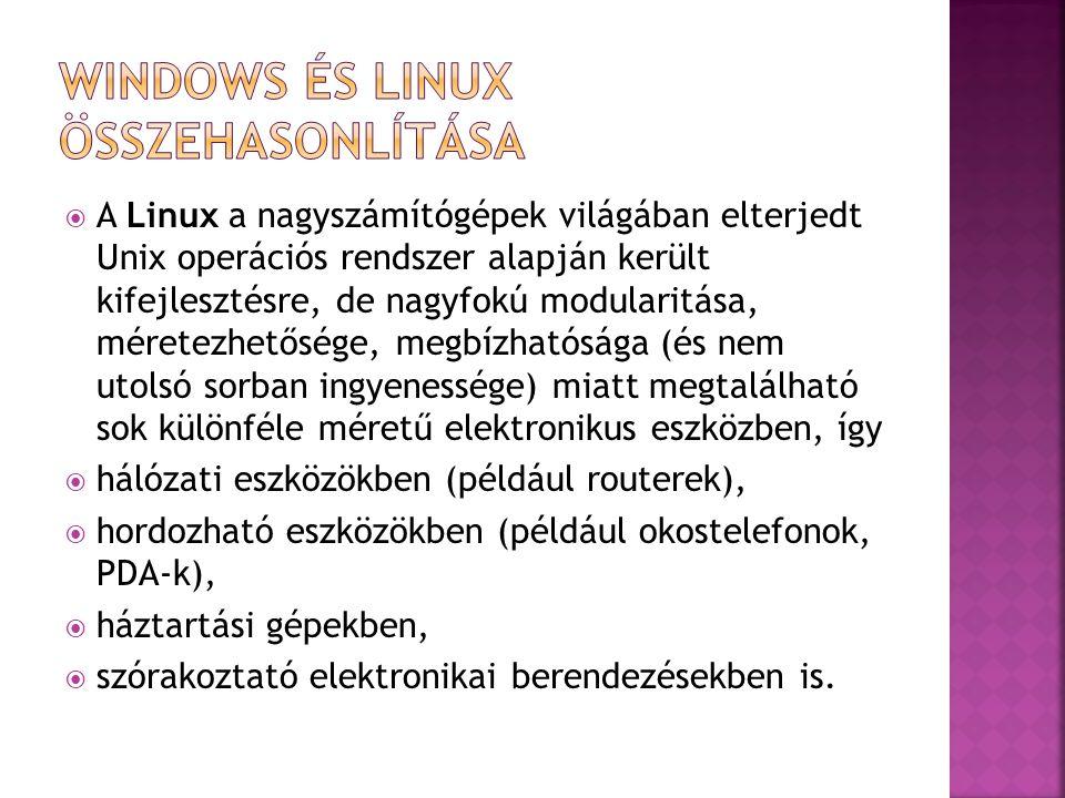  A Linux a nagyszámítógépek világában elterjedt Unix operációs rendszer alapján került kifejlesztésre, de nagyfokú modularitása, méretezhetősége, meg