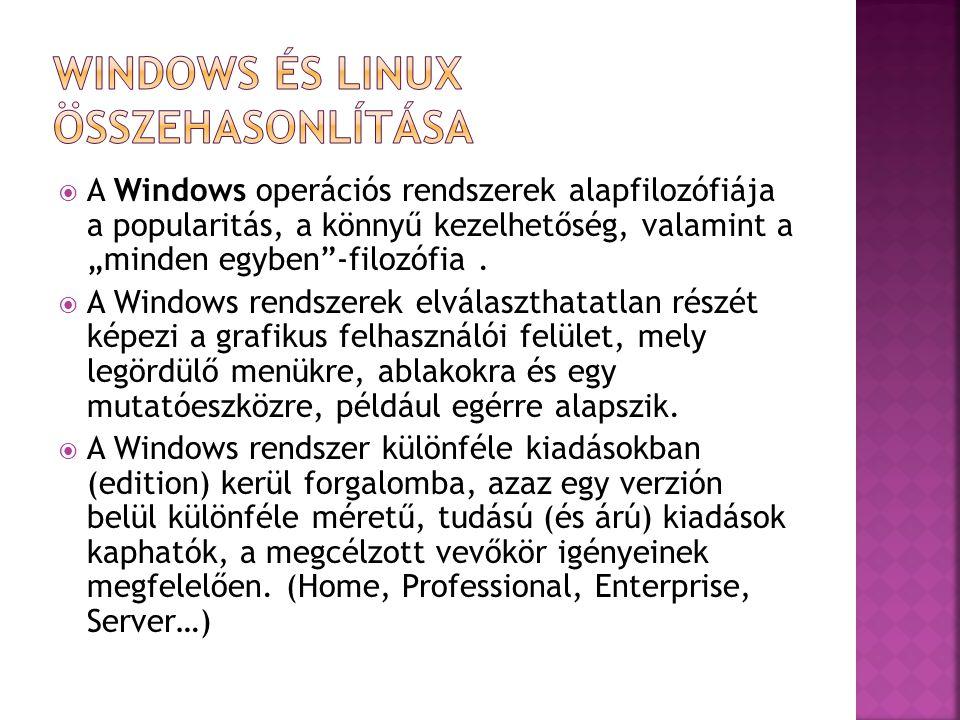 """ A Windows operációs rendszerek alapfilozófiája a popularitás, a könnyű kezelhetőség, valamint a """"minden egyben""""-filozófia.  A Windows rendszerek el"""