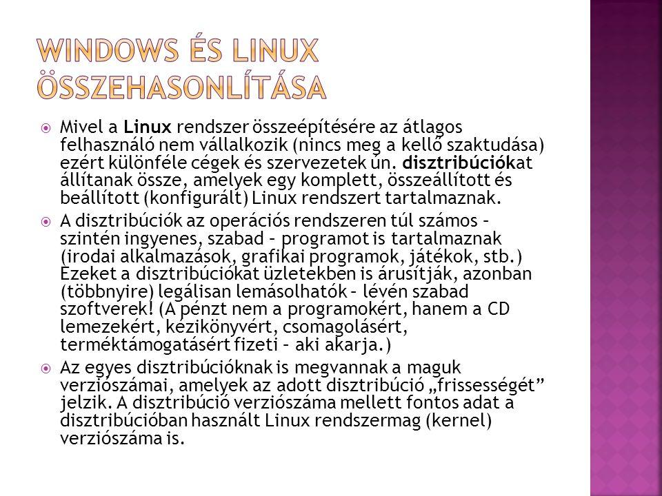  Mivel a Linux rendszer összeépítésére az átlagos felhasználó nem vállalkozik (nincs meg a kellő szaktudása) ezért különféle cégek és szervezetek ún.