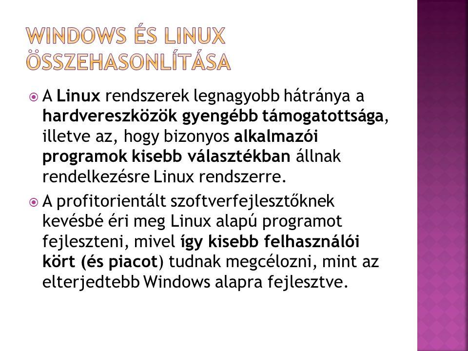  A Linux rendszerek legnagyobb hátránya a hardvereszközök gyengébb támogatottsága, illetve az, hogy bizonyos alkalmazói programok kisebb választékban
