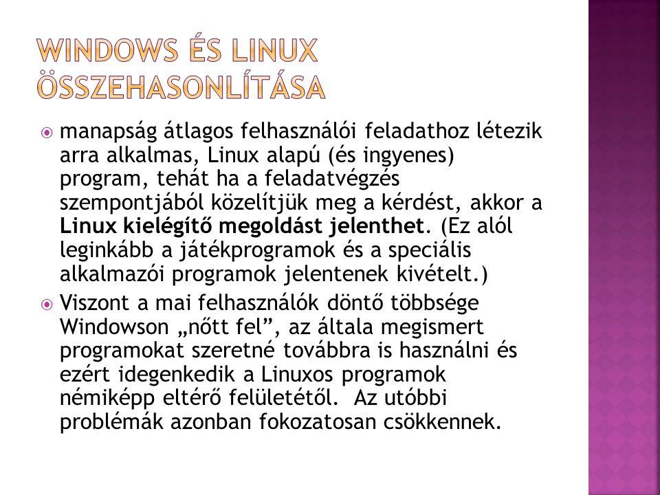  manapság átlagos felhasználói feladathoz létezik arra alkalmas, Linux alapú (és ingyenes) program, tehát ha a feladatvégzés szempontjából közelítjük