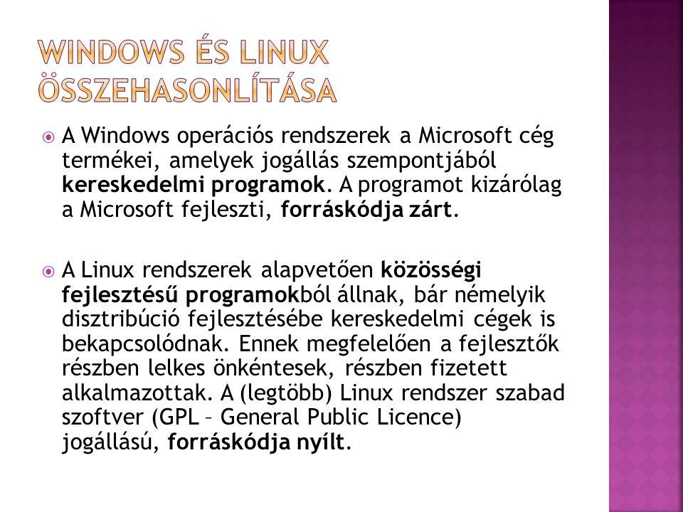  A Windows rendszer eredetileg egyfelhasználós, mikroszámítógépes operációs rendszerként indult, majd később fejlesztették ki a nagygépekre szánt (többfelhasználós, szerver) verzióit.