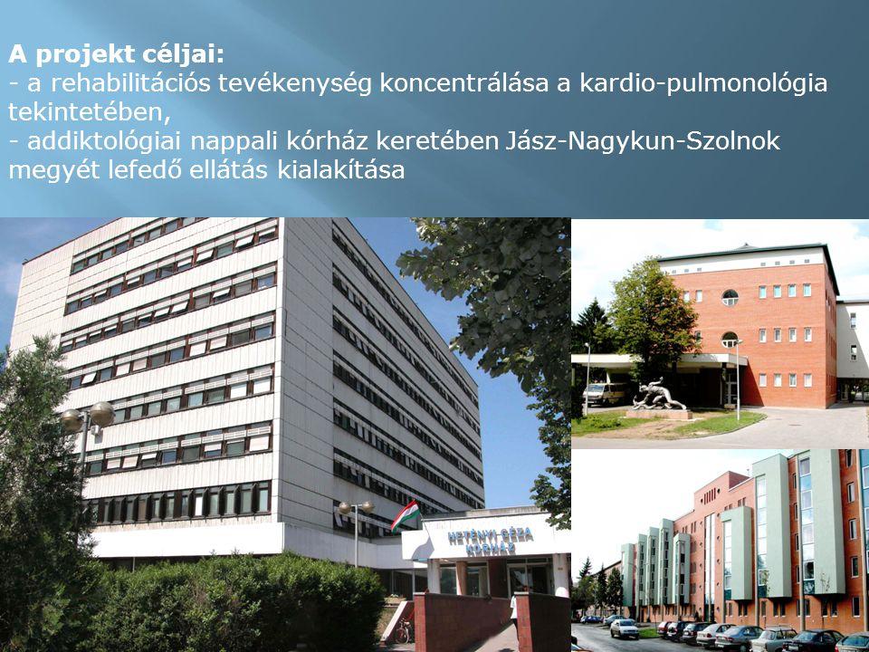 A projekt céljai: - a rehabilitációs tevékenység koncentrálása a kardio-pulmonológia tekintetében, - addiktológiai nappali kórház keretében Jász-Nagykun-Szolnok megyét lefedő ellátás kialakítása