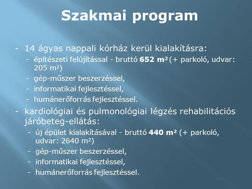 Szakmai program -14 ágyas nappali kórház kerül kialakításra: -építészeti felújítással - bruttó 652 m 2 (+ parkoló, udvar: 205 m 2 ) -gép-műszer beszerzéssel, -informatikai fejlesztéssel, -humánerőforrás fejlesztéssel.