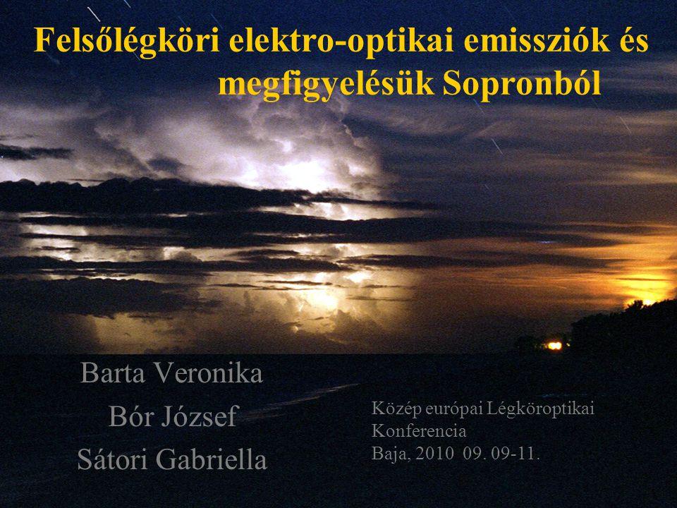 Felsőlégköri elektro-optikai emissziók és megfigyelésük Sopronból Barta Veronika Bór József Sátori Gabriella Közép európai Légköroptikai Konferencia B