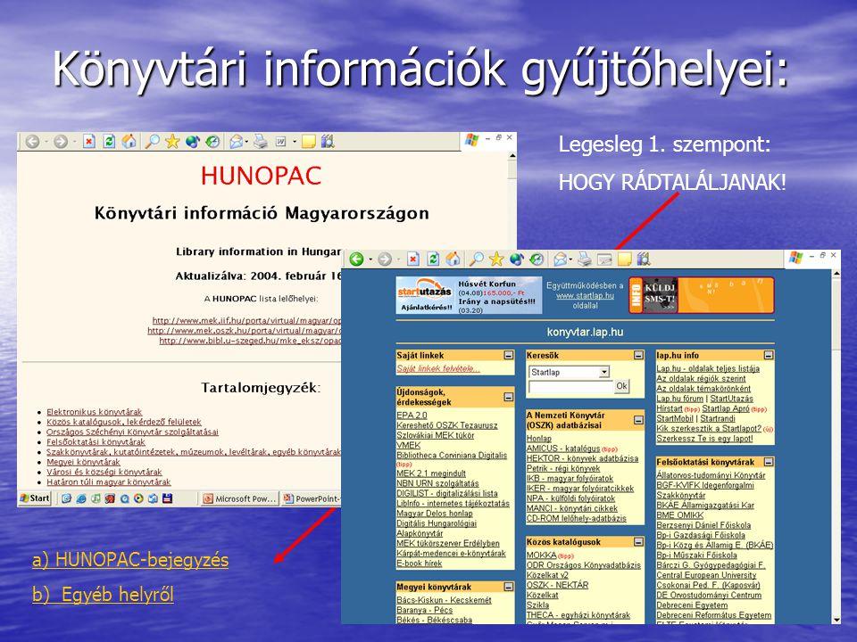 Könyvtári információk gyűjtőhelyei: Legesleg 1. szempont: HOGY RÁDTALÁLJANAK.