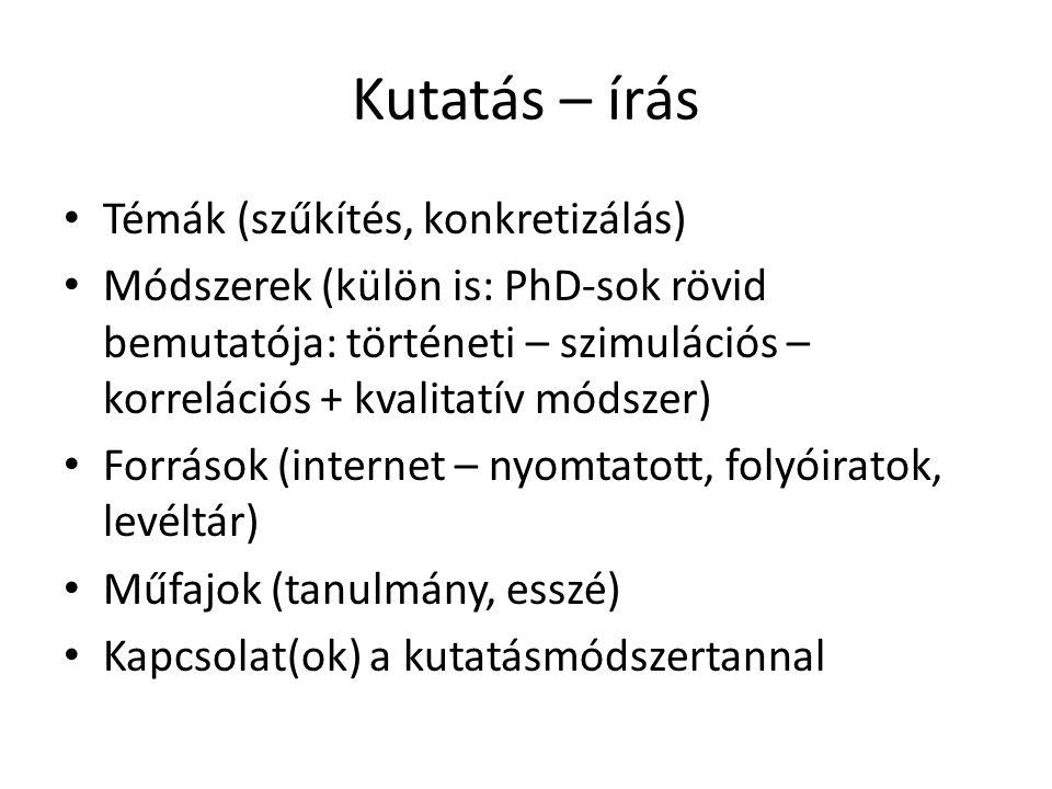 Kutatás – írás Témák (szűkítés, konkretizálás) Módszerek (külön is: PhD-sok rövid bemutatója: történeti – szimulációs – korrelációs + kvalitatív módszer) Források (internet – nyomtatott, folyóiratok, levéltár) Műfajok (tanulmány, esszé) Kapcsolat(ok) a kutatásmódszertannal