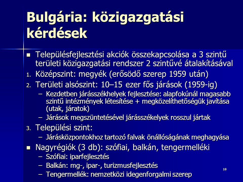 1010 Bulgária: közigazgatási kérdések Településfejlesztési akciók összekapcsolása a 3 szintű területi közigazgatási rendszer 2 szintűvé átalakításával