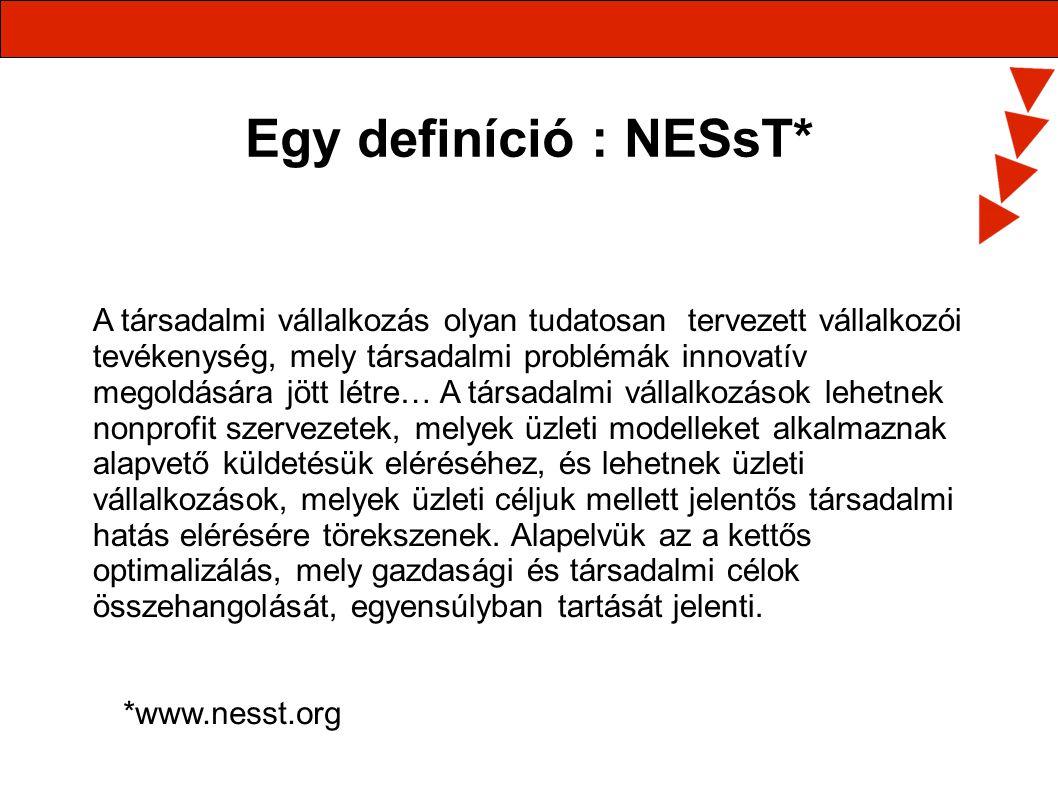 Egy definíció : NESsT* A társadalmi vállalkozás olyan tudatosan tervezett vállalkozói tevékenység, mely társadalmi problémák innovatív megoldására jöt