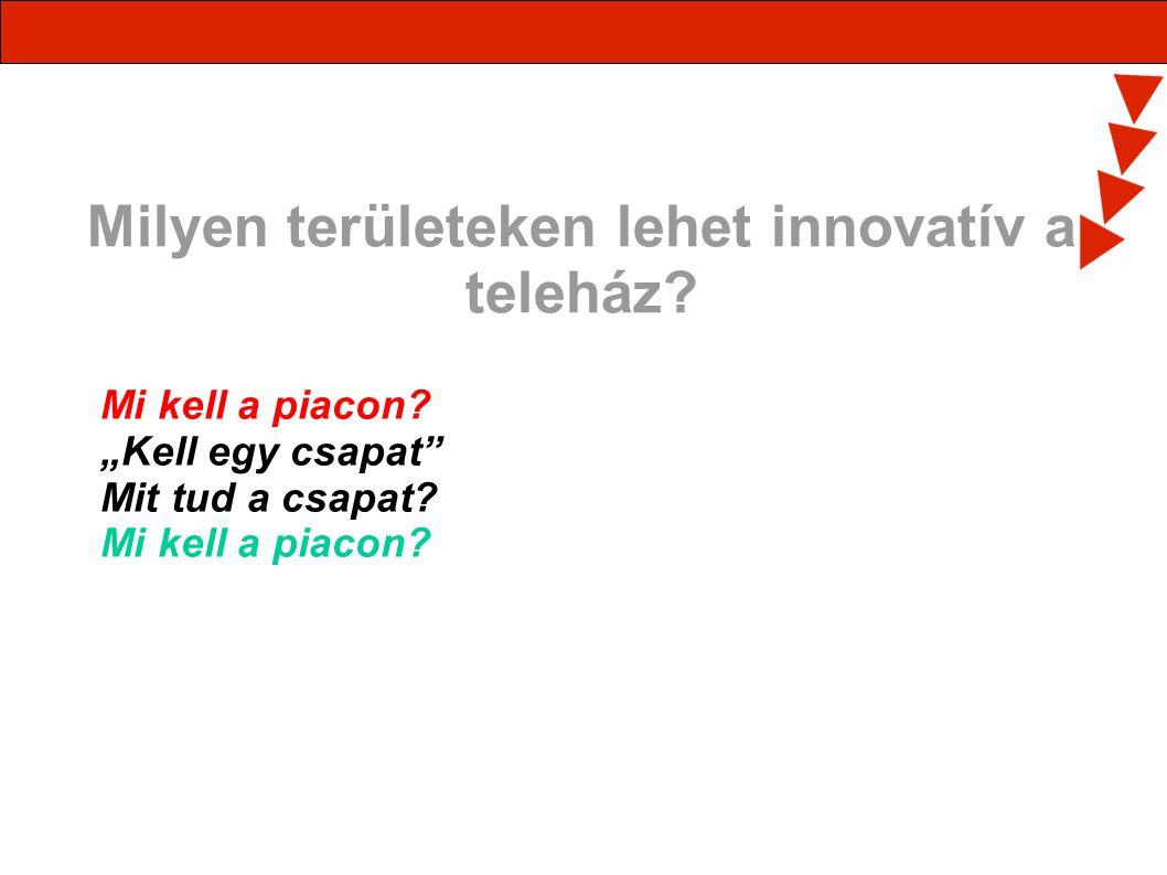 Milyen területeken lehet innovatív a teleház.Mi kell a piacon.