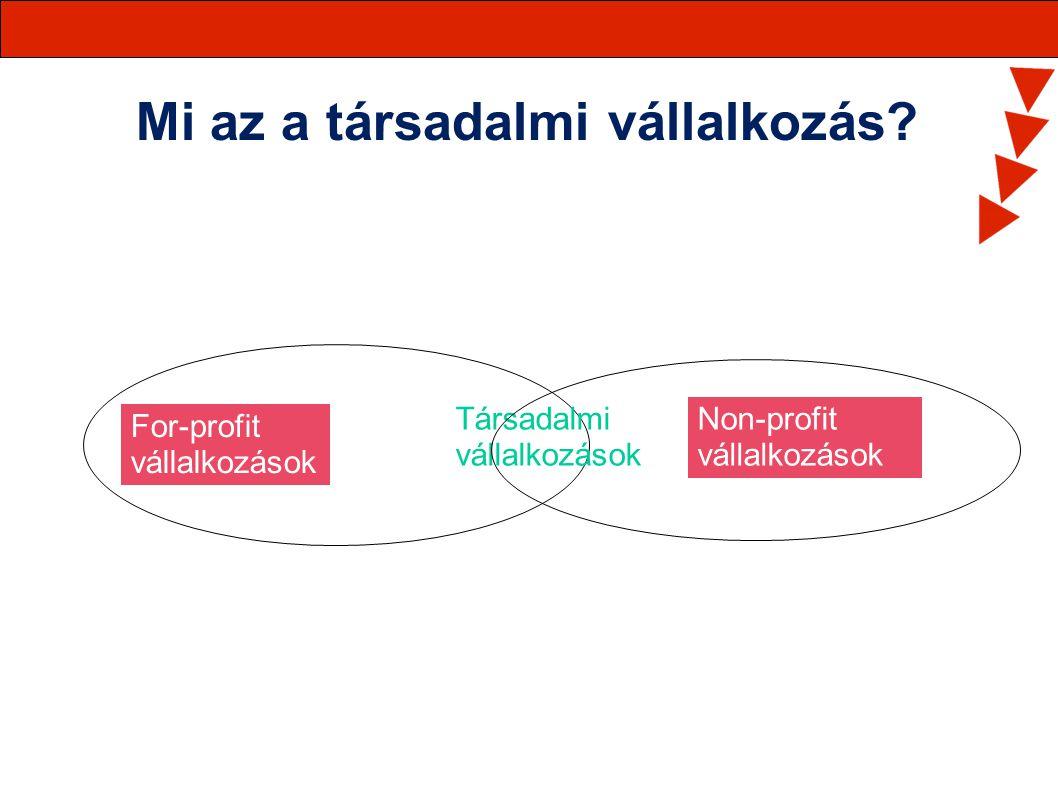 Mi az a társadalmi vállalkozás? For-profit vállalkozások Non-profit vállalkozások Társadalmi vállalkozások