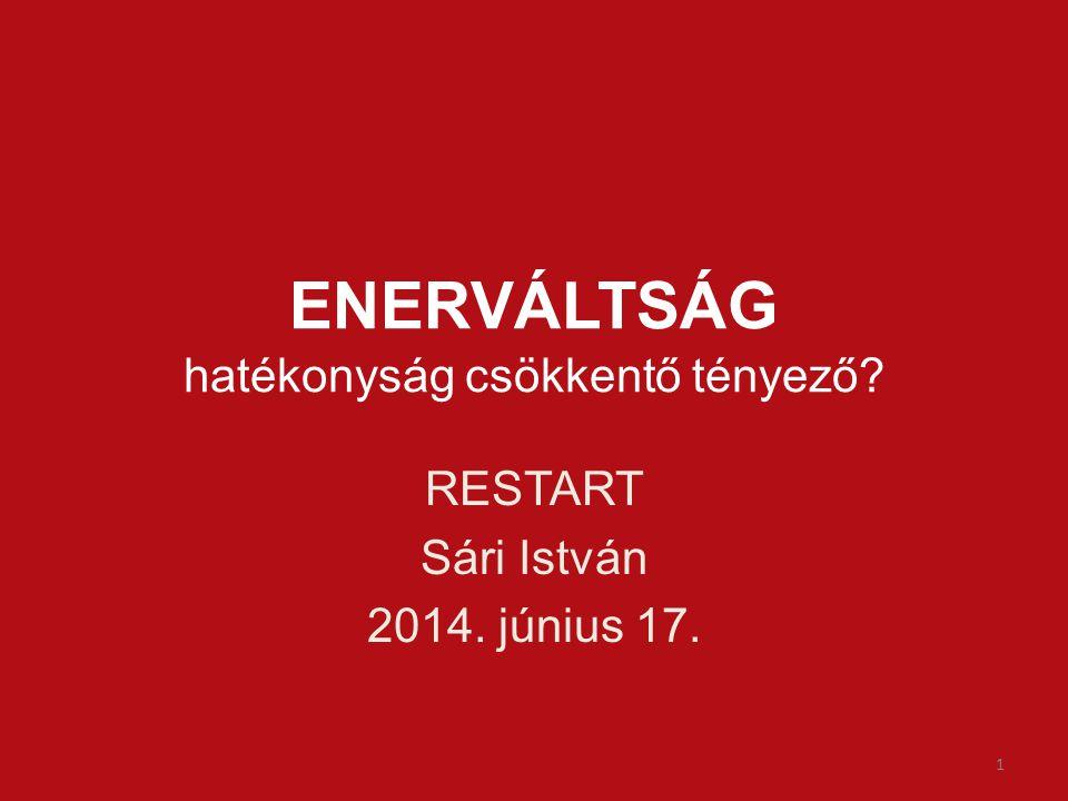 ENERVÁLTSÁG hatékonyság csökkentő tényező RESTART Sári István 2014. június 17. 1