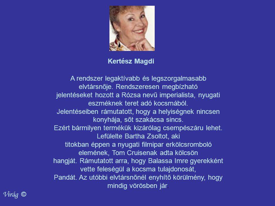 Virág © Kertész Magdi A rendszer legaktívabb és legszorgalmasabb elvtársnője.