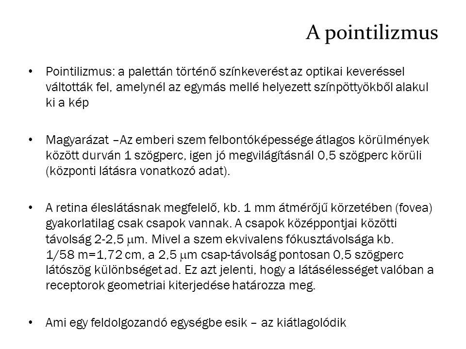 A pointilizmus Pointilizmus: a palettán történő színkeverést az optikai keveréssel váltották fel, amelynél az egymás mellé helyezett színpöttyökből al