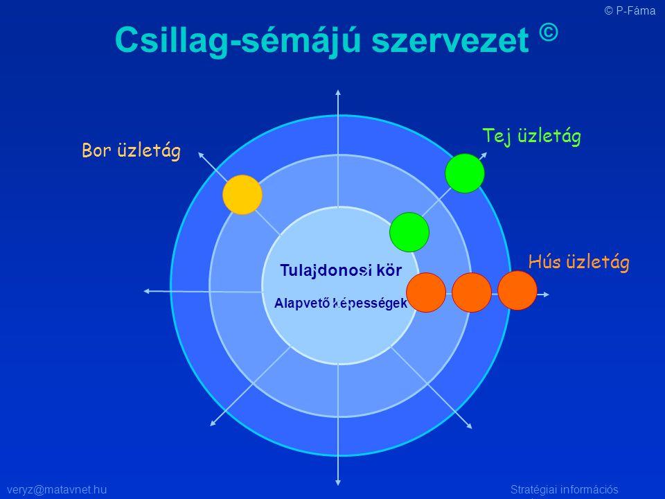 veryz@matavnet.huStratégiai információs rendszer Csillag-sémájú szervezet © Tulajdonosi kör Alapvető képességek Tej üzletág Hús üzletág Bor üzletág © P-Fáma