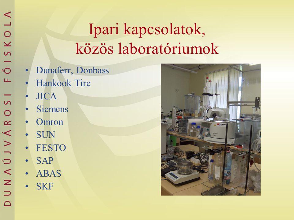 Ipari kapcsolatok, közös laboratóriumok Dunaferr, Donbass Hankook Tire JICA Siemens Omron SUN FESTO SAP ABAS SKF