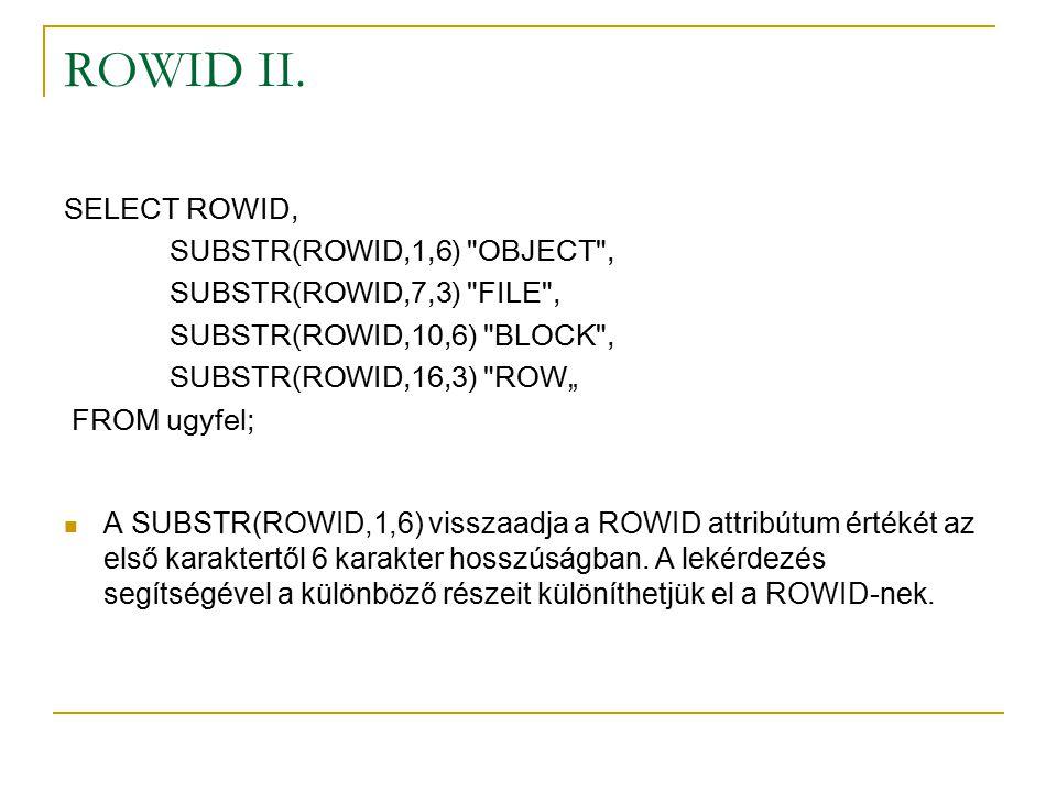 ROWID II.