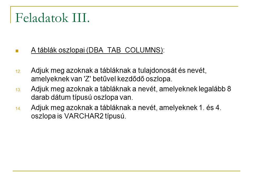 Feladatok III.A táblák oszlopai (DBA_TAB_COLUMNS): 12.
