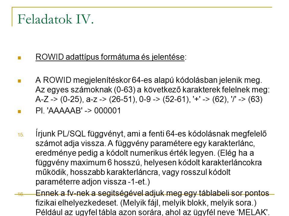 Feladatok IV.