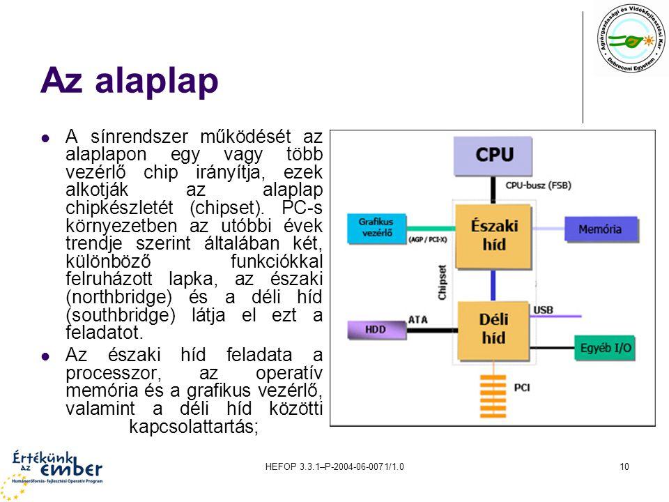 HEFOP 3.3.1–P-2004-06-0071/1.010 Az alaplap A sínrendszer működését az alaplapon egy vagy több vezérlő chip irányítja, ezek alkotják az alaplap chipké