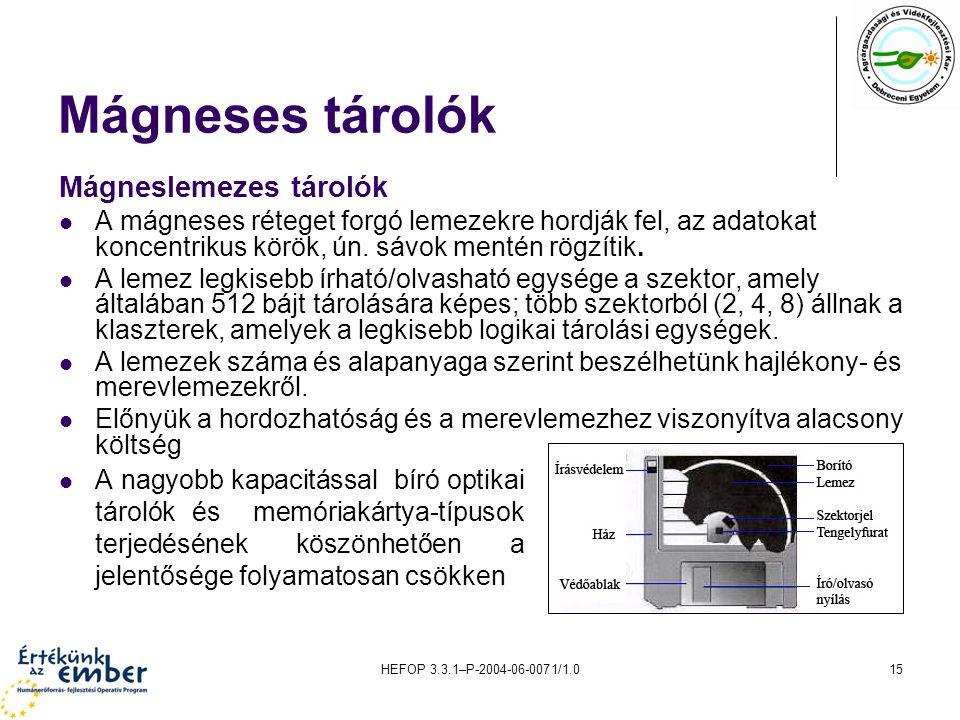 HEFOP 3.3.1–P-2004-06-0071/1.015 Mágneses tárolók A nagyobb kapacitással bíró optikai tárolók és memóriakártya-típusok terjedésének köszönhetően a jel