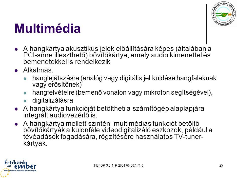 HEFOP 3.3.1–P-2004-06-0071/1.025 Multimédia A hangkártya akusztikus jelek előállítására képes (általában a PCI-sínre illeszthető) bővítőkártya, amely