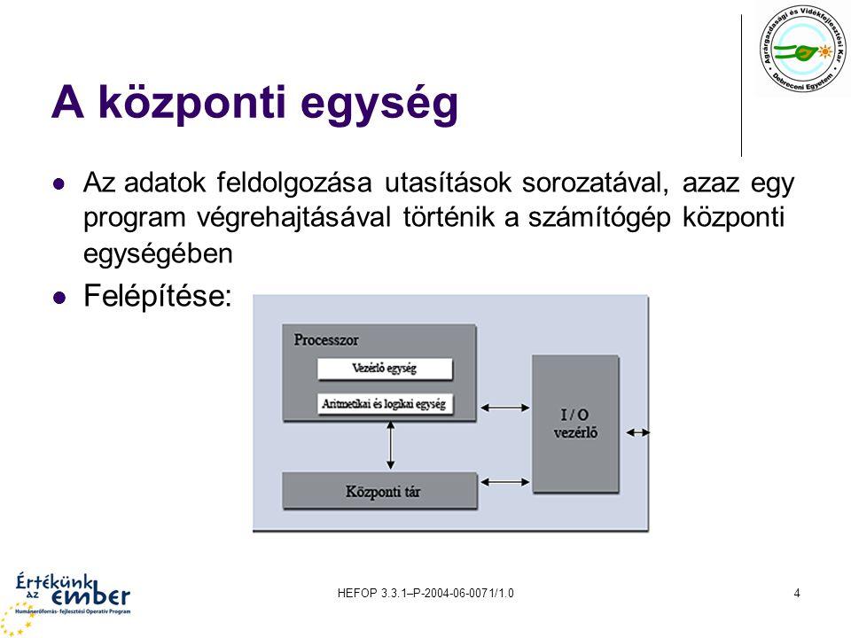 HEFOP 3.3.1–P-2004-06-0071/1.04 A központi egység Az adatok feldolgozása utasítások sorozatával, azaz egy program végrehajtásával történik a számítógé