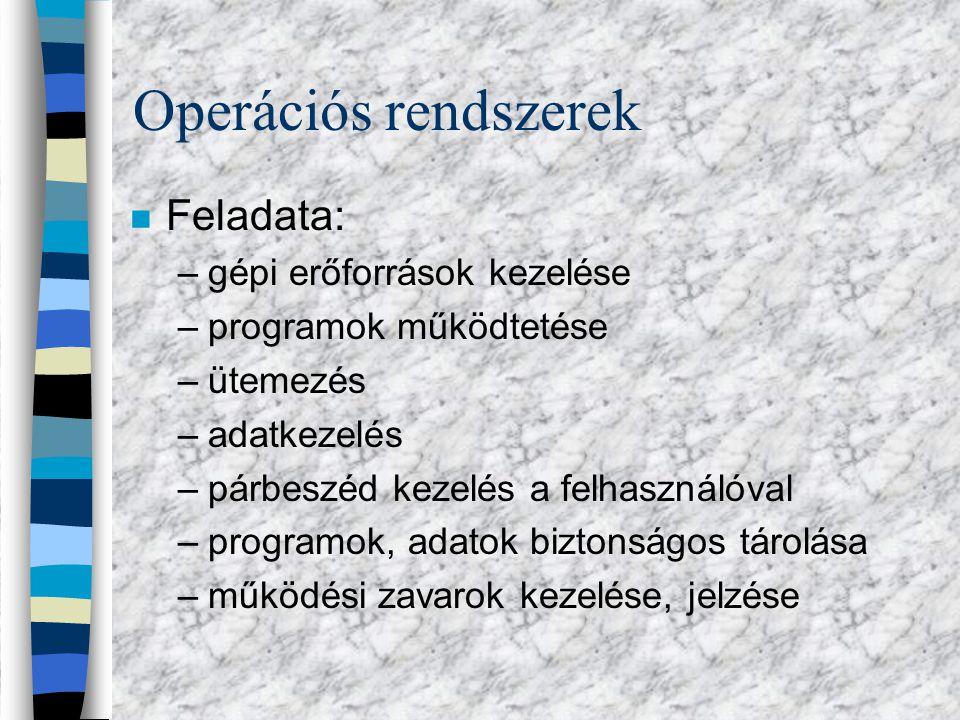 Operációs rendszerek n Jellemzői: –karakteres/grafikus (DOS, WIN) –Egyfeladatos, többfeladatos (DOS, WIN) –Egyfelhasználós, többfelhasználós, (DOS, UNIX)