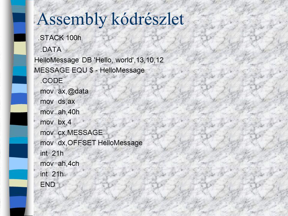 """Pascal kódrészlet Program hello; uses crt; Begin clrscr; Writeln(""""Hello world ); end."""