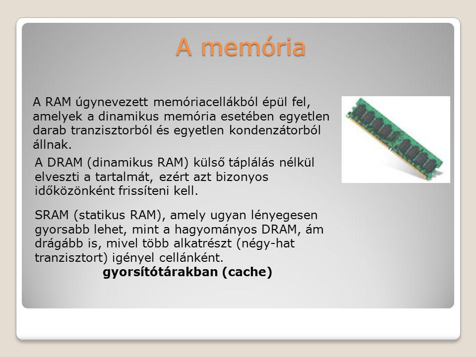 A memória A RAM úgynevezett memóriacellákból épül fel, amelyek a dinamikus memória esetében egyetlen darab tranzisztorból és egyetlen kondenzátorból á