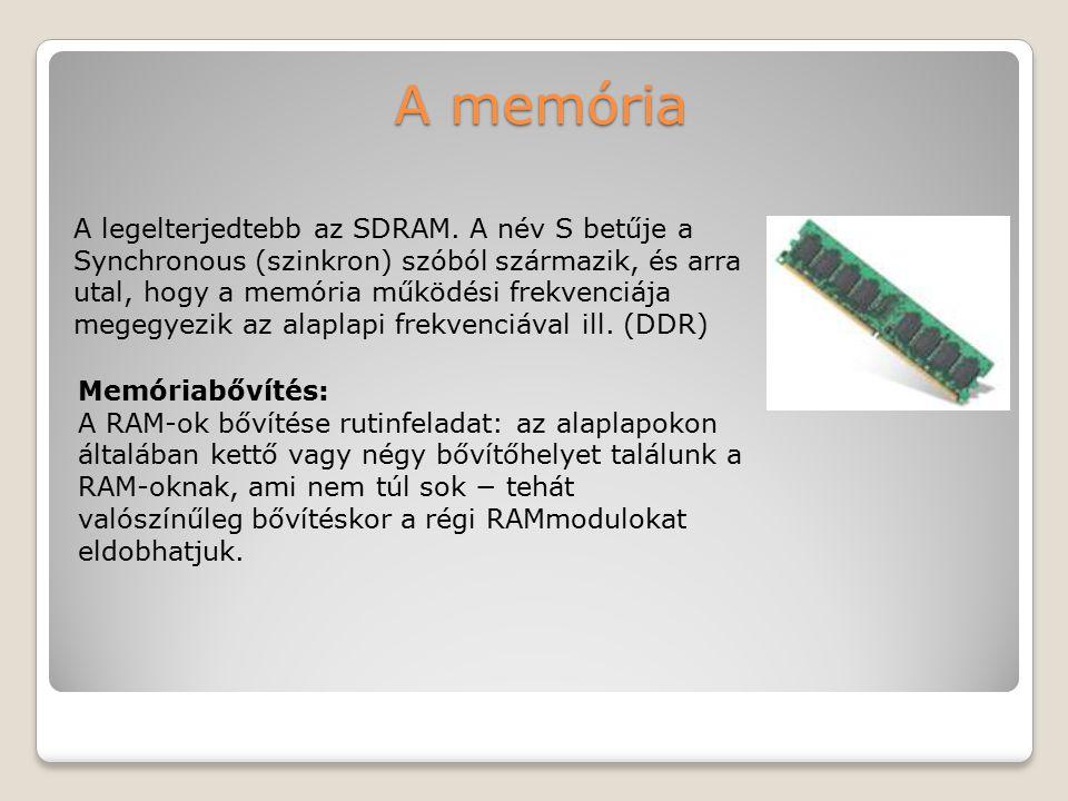 A memória A legelterjedtebb az SDRAM. A név S betűje a Synchronous (szinkron) szóból származik, és arra utal, hogy a memória működési frekvenciája meg