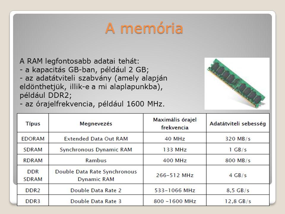 A memória A RAM legfontosabb adatai tehát: - a kapacitás GB-ban, például 2 GB; - az adatátviteli szabvány (amely alapján eldönthetjük, illik-e a mi al