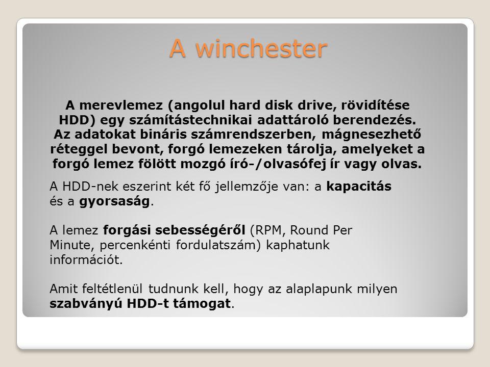 A winchester A merevlemez (angolul hard disk drive, rövidítése HDD) egy számítástechnikai adattároló berendezés. Az adatokat bináris számrendszerben,