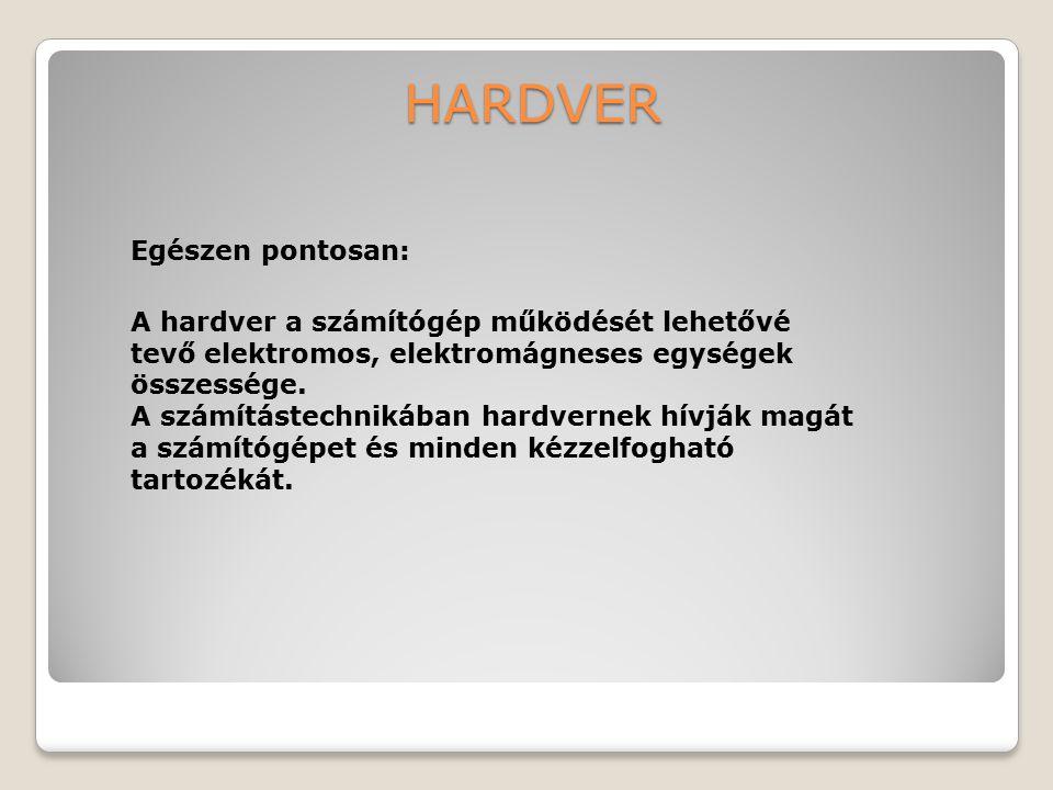 HARDVER A hardver a számítógép működését lehetővé tevő elektromos, elektromágneses egységek összessége. A számítástechnikában hardvernek hívják magát