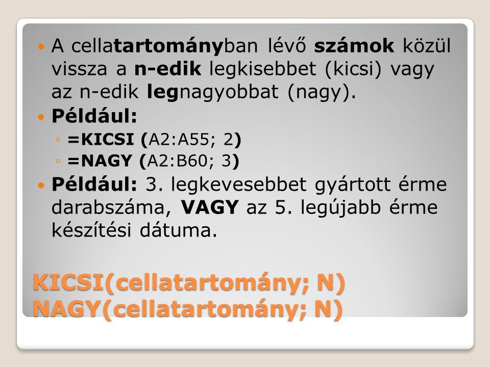 KICSI(cellatartomány; N) NAGY(cellatartomány; N) A cellatartományban lévő számok közül vissza a n-edik legkisebbet (kicsi) vagy az n-edik legnagyobbat (nagy).