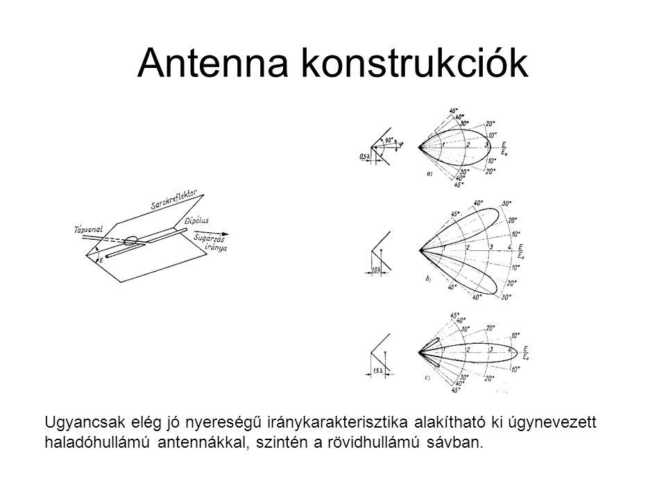 Antenna konstrukciók Ugyancsak elég jó nyereségű iránykarakterisztika alakítható ki úgynevezett haladóhullámú antennákkal, szintén a rövidhullámú sávban.