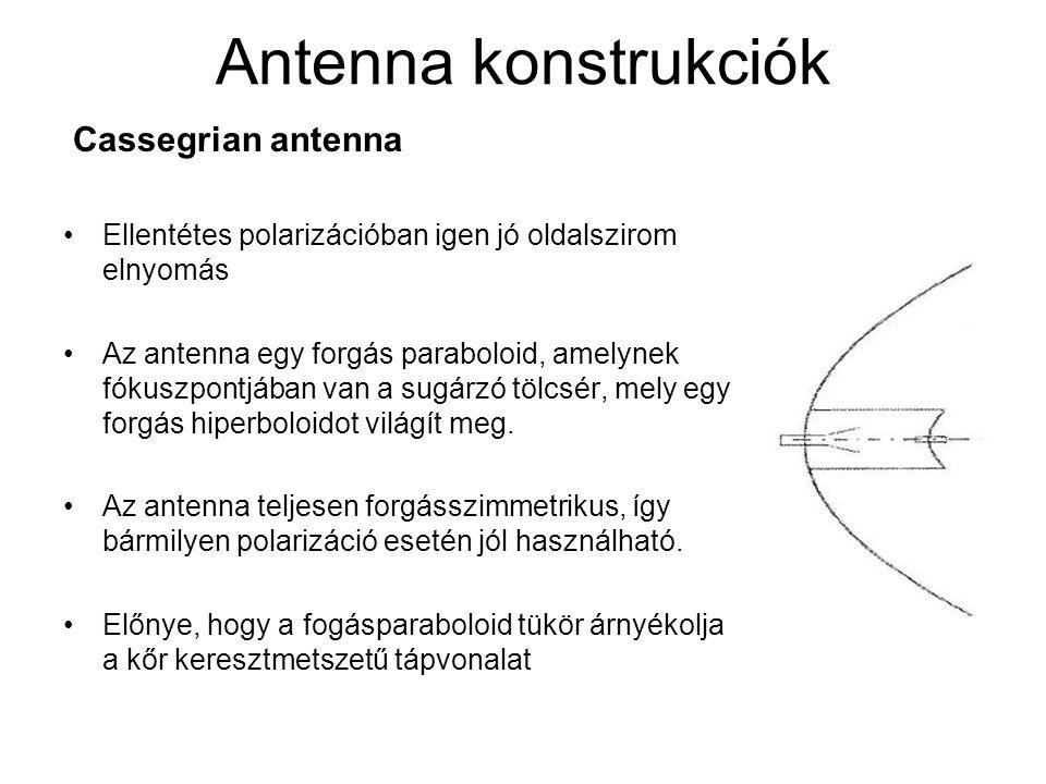 Antenna konstrukciók Cassegrian antenna Ellentétes polarizációban igen jó oldalszirom elnyomás Az antenna egy forgás paraboloid, amelynek fókuszpontjában van a sugárzó tölcsér, mely egy forgás hiperboloidot világít meg.