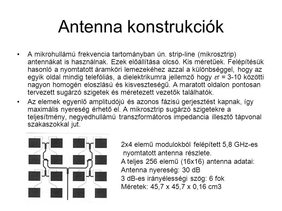 Antenna konstrukciók A mikrohullámú frekvencia tartományban ún.