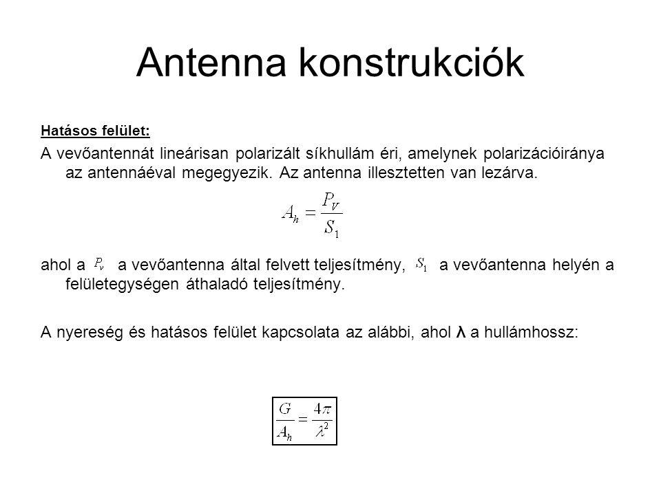 Antenna konstrukciók A kapcsolat értelmezéséhez nézzünk néhány egyszerű példát: A műholdról 13 GHz-es jel érkezik, a vevő parabola antenna hatásos felülete 1 legyen.