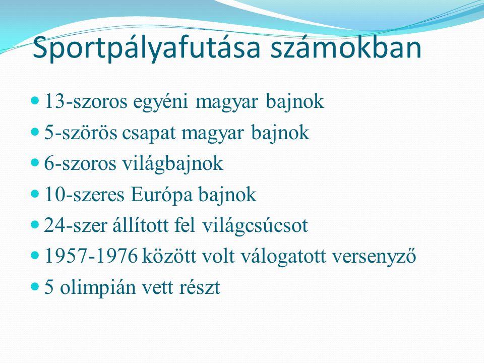 Sportpályafutása számokban 13-szoros egyéni magyar bajnok 5-szörös csapat magyar bajnok 6-szoros világbajnok 10-szeres Európa bajnok 24-szer állított fel világcsúcsot 1957-1976 között volt válogatott versenyző 5 olimpián vett részt