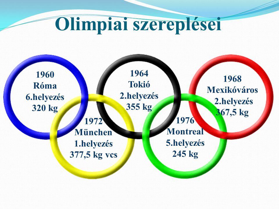 Olimpiai szereplései 1960 Róma 6.helyezés 320 kg 1964 Tokió 2.helyezés 355 kg 1968 Mexikóváros 2.helyezés 367,5 kg 1972 München 1.helyezés 377,5 kg vc