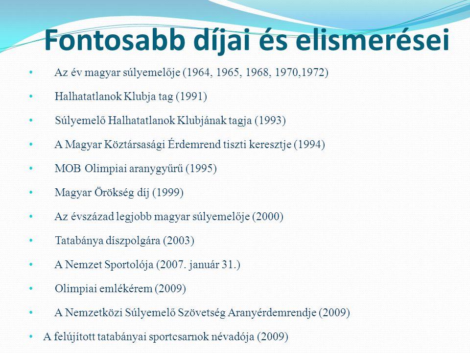 Fontosabb díjai és elismerései Az év magyar súlyemelője (1964, 1965, 1968, 1970,1972) Halhatatlanok Klubja tag (1991) Súlyemelő Halhatatlanok Klubjána
