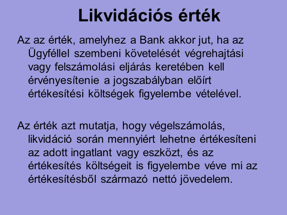 Likvidációs érték Az az érték, amelyhez a Bank akkor jut, ha az Ügyféllel szembeni követelését végrehajtási vagy felszámolási eljárás keretében kell é