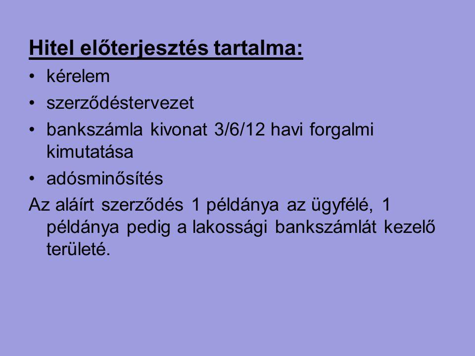 Hitel előterjesztés tartalma: kérelem szerződéstervezet bankszámla kivonat 3/6/12 havi forgalmi kimutatása adósminősítés Az aláírt szerződés 1 példány