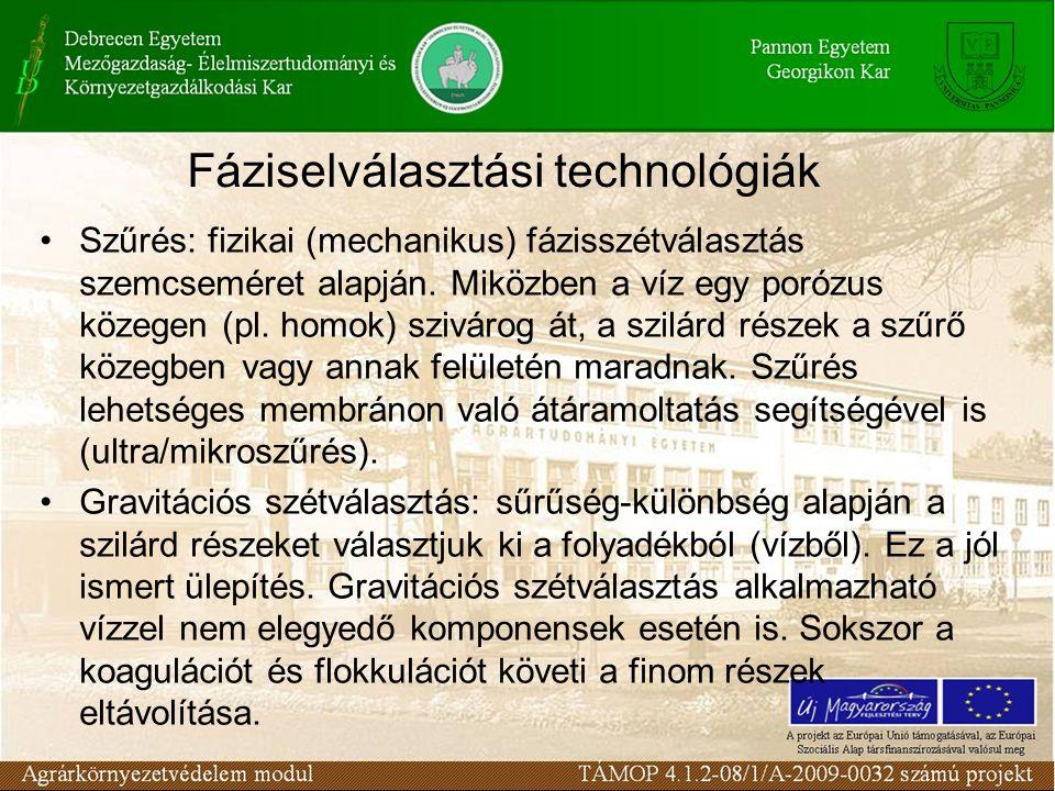 Fáziselválasztási technológiák Szűrés: fizikai (mechanikus) fázisszétválasztás szemcseméret alapján.