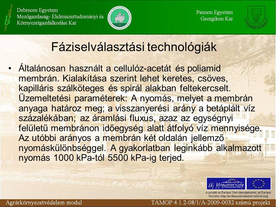 Fáziselválasztási technológiák Általánosan használt a cellulóz-acetát és poliamid membrán.